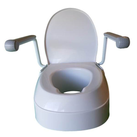 Homecraft Raised Toilet Seat with Arms Front View Open
