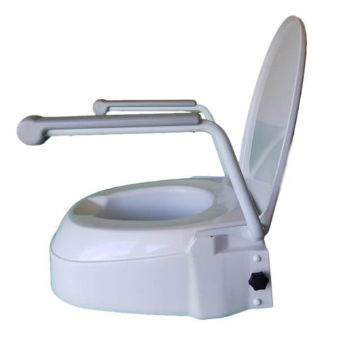 Homecraft Raised Toilet Seat with Arms Side View Open