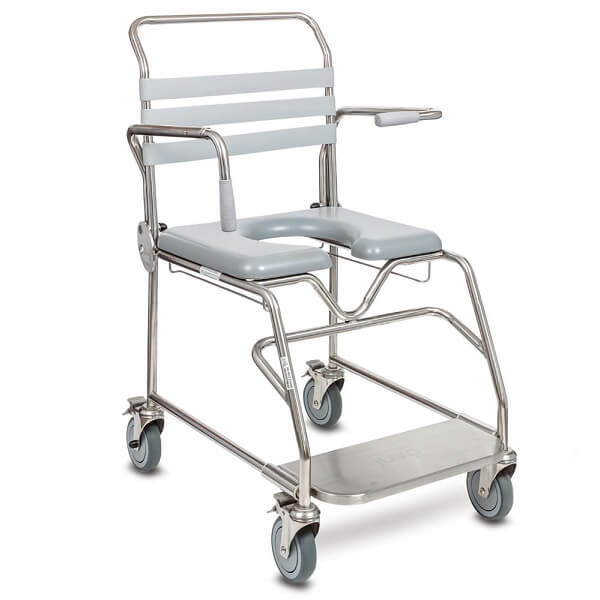 JUVO Bariatric Mobile Shower Commode Sliding Footplate