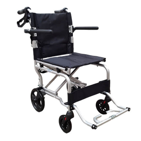 PQUIP Ultra Lightweight Attendant Propelled Travel Wheelchair
