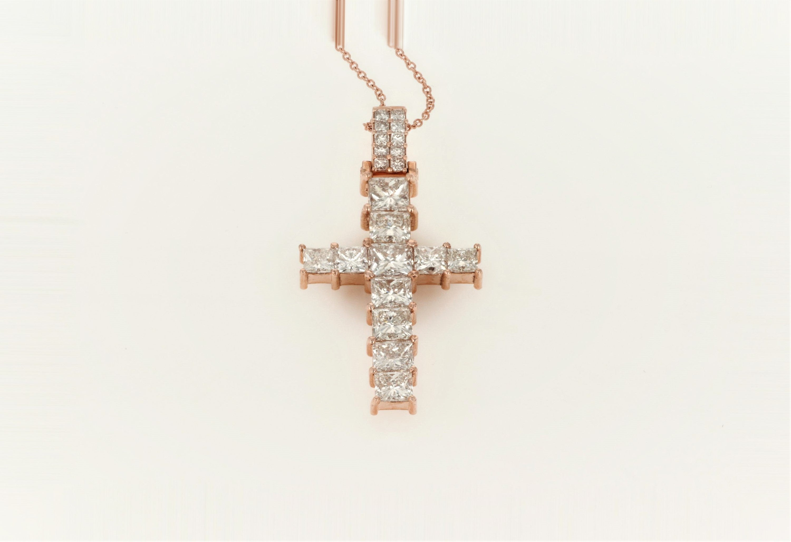 10K Women's Rose Gold (Stamped) Diamond Cross Pendant