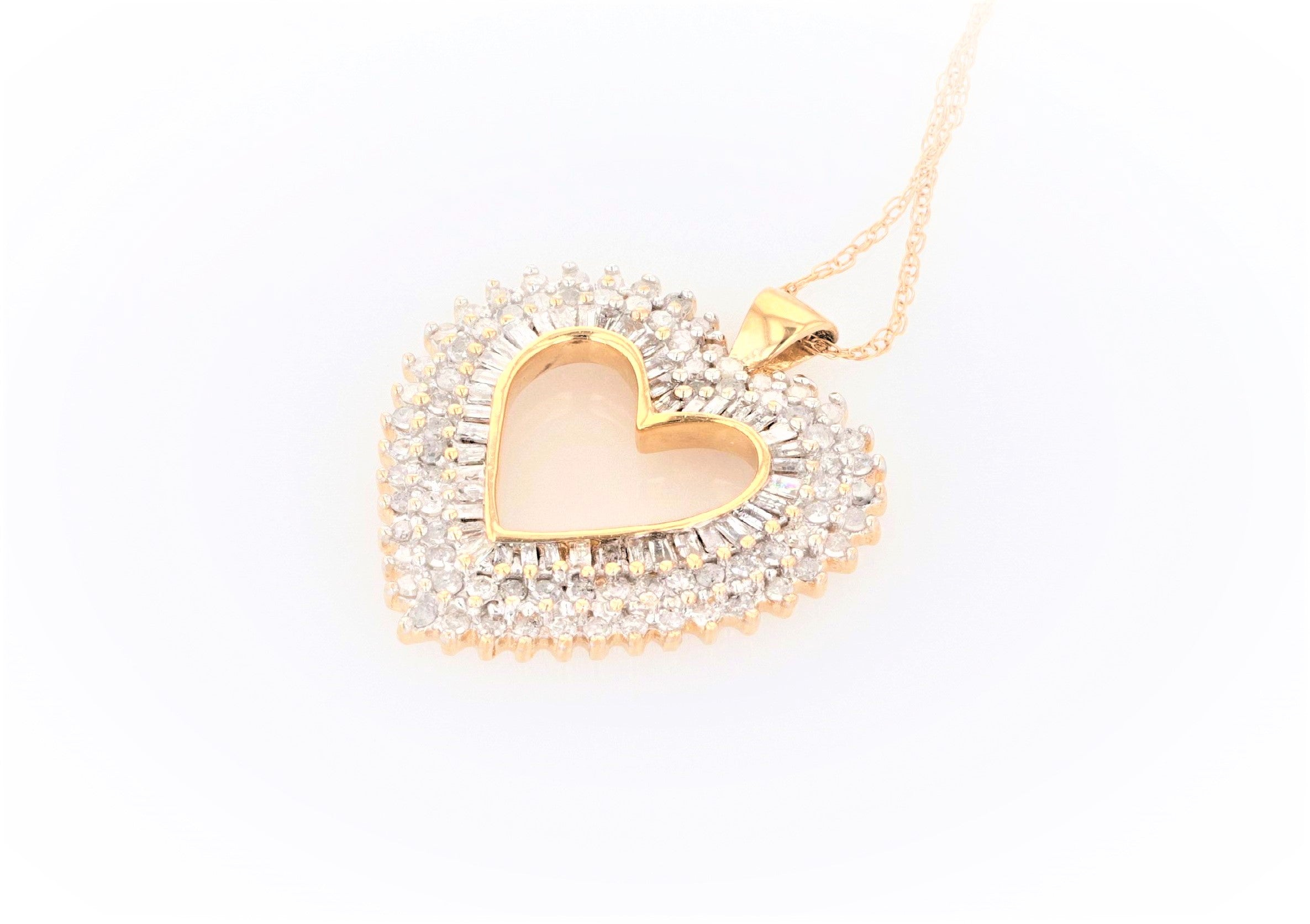 10K Women's Yellow Gold (Stamped) 19.0 inch Fine Link Chain & 10K Yellow Gold Heart Pendant