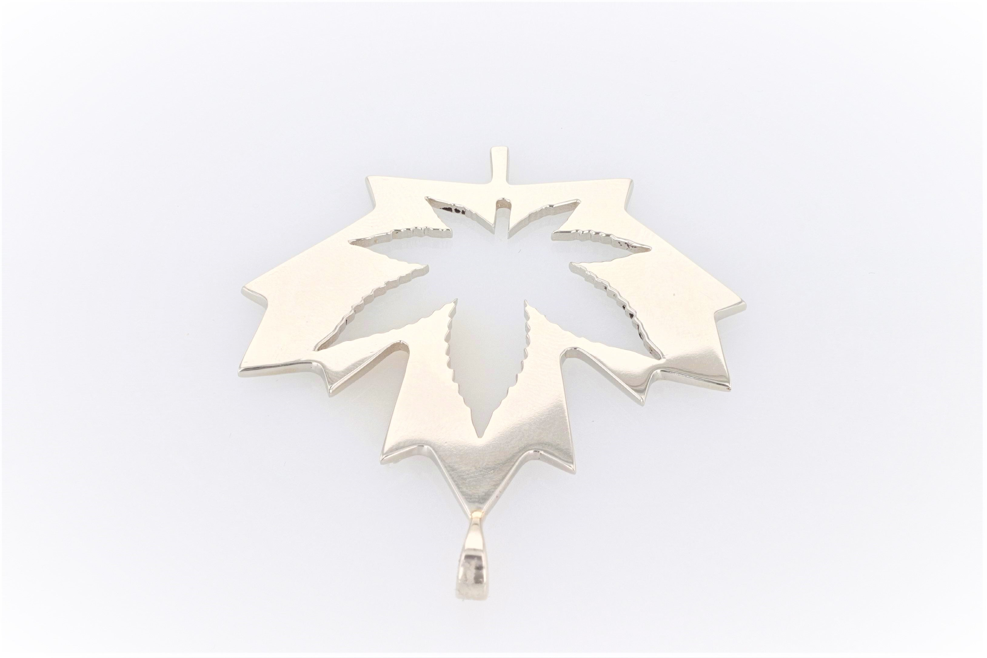10K White Gold (Stamped) Maple Leaf Pendant with Marijuana Leaf Cut-Out