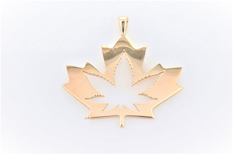 10K Yellow Gold (Stamped) Maple Leaf Pendant with Marijuana Leaf Cut-Out