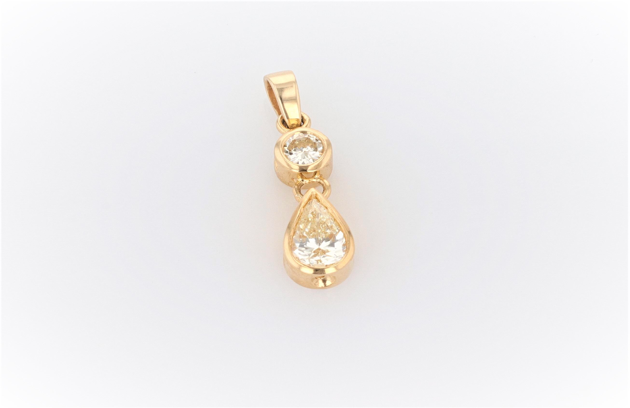 18K Women's Yellow Gold (Stamped) Dress Drop Pendant