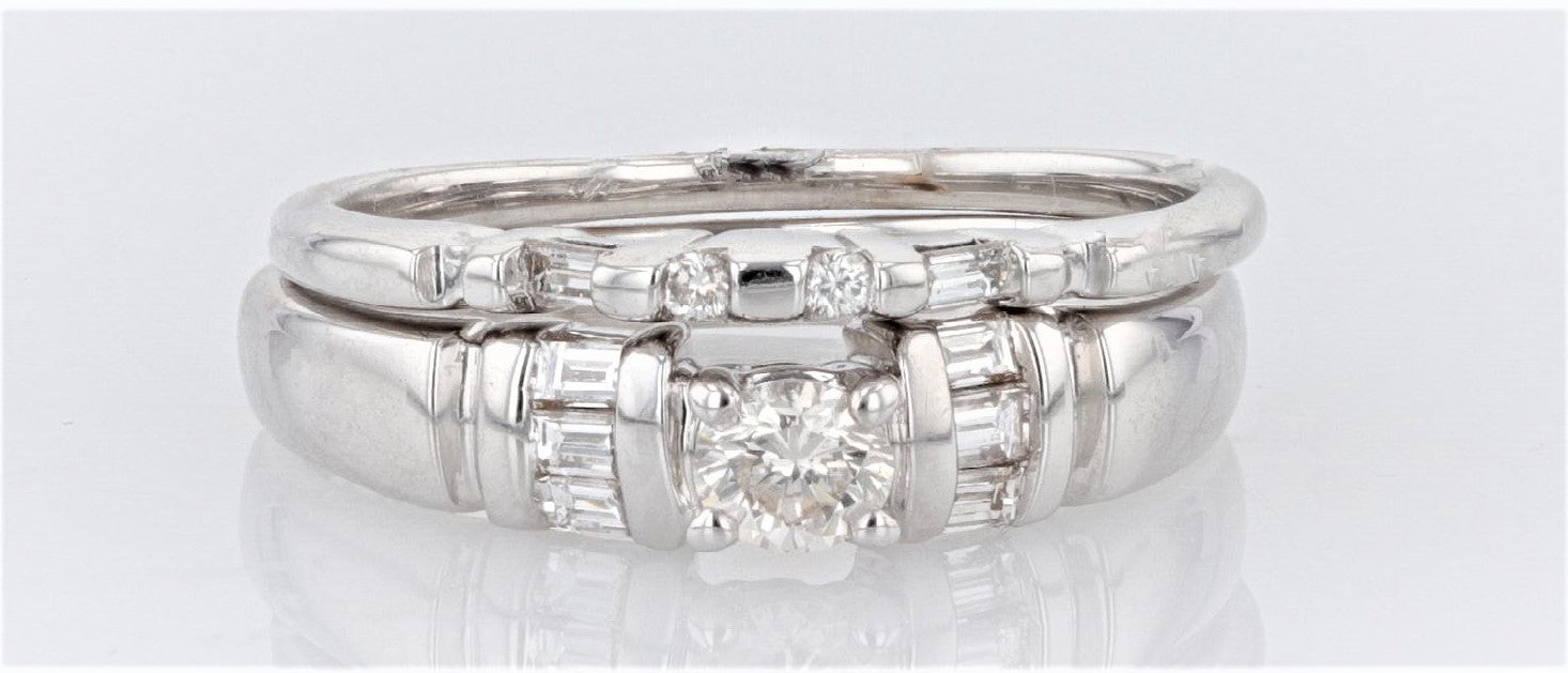 14K Women's White Gold (Stamped) shank Engagement & Wedding Ring Set