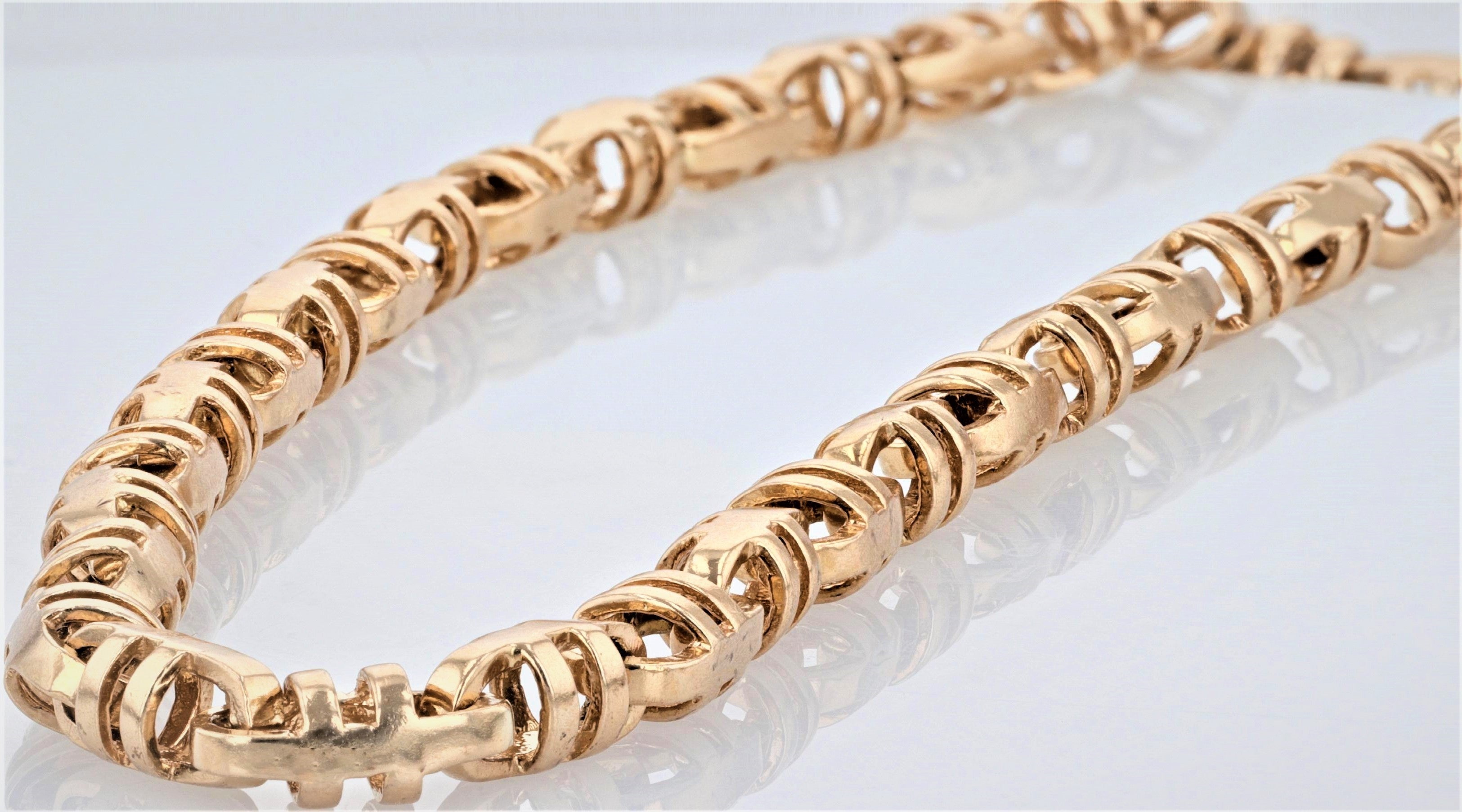 10K Men's Yellow Gold (Stamped) 28 inch Slotted Barrel Link Dress Chain