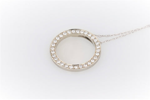 10K Women's Gold (Stamped) 20 inch Link Chain & Hung With a 19K White Gold (Stamped) Circle Pendant