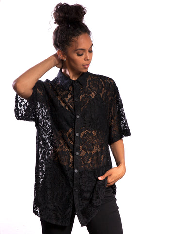 LACE SHORT SLEEVE BUTTON DOWN
