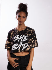 SHE BAD TIE DYED CROP T-SHIRT