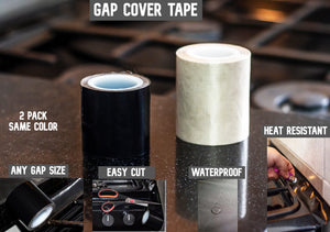 Kitchen Stove Counter Gap Cover,Seals Between Counter Range,Burner,Washer,Dryer,Extra Wide & Long,Heat Resistant,Waterproof Tape Set of 2