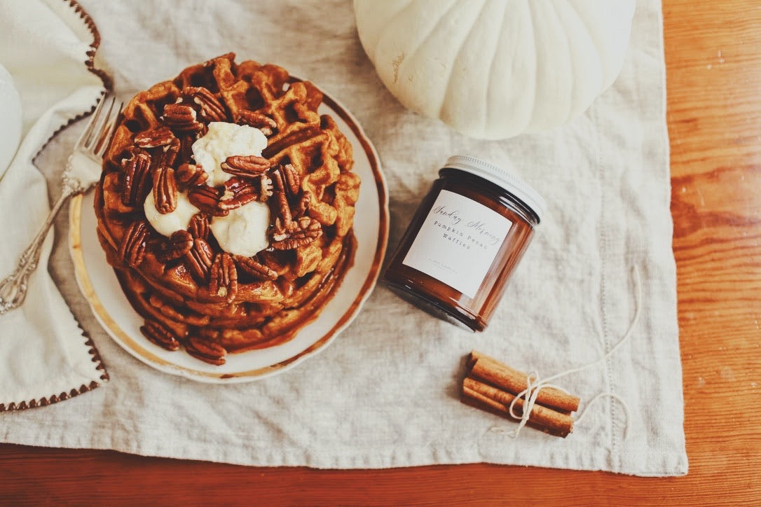 Sunday Morning Pumpkin Pecan Waffles