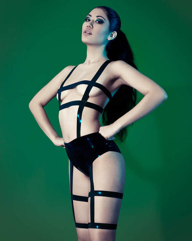 Black Caged Bodysuit - Size 10 - READY TO SHIP