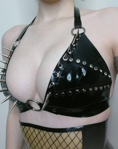 Alenee Studded/Spiked Bra - Latex