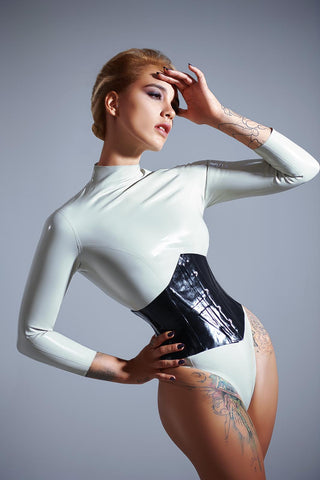 High Leg Latex Bodysuit - READY TO SHIP