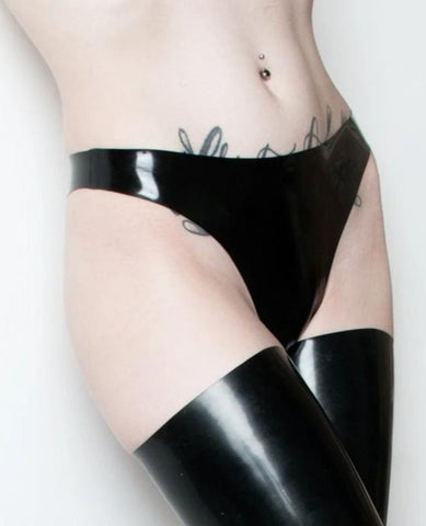 Black Latex Thong - UK size 12 - READY TO SHIP
