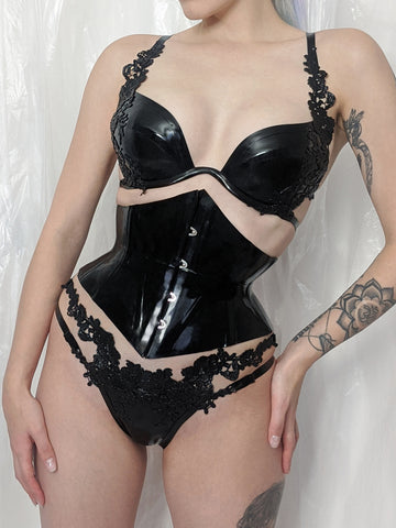 Latex Lace Thong - Black