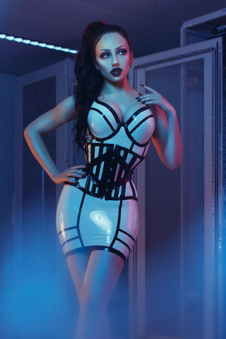 Adria Underbust Latex Corset - Steel Boned
