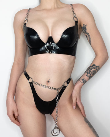 Chained Latex Plunge Bra
