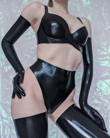 Black Underwired Latex Bra - READY TO SHIP