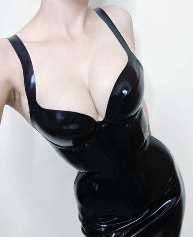Latex Corset Dress with Padded Push-up Cups and Waist Tape