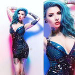 Andromeda Galaxy Padded Cup Latex Dress - Size UK 8 READY TO SHIP