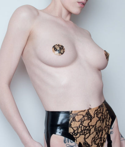 Igneus Latex Lace Nipple Pasties