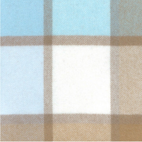 Paulette Rollo Check Lambswool Throw Shown In Aqua/Sand