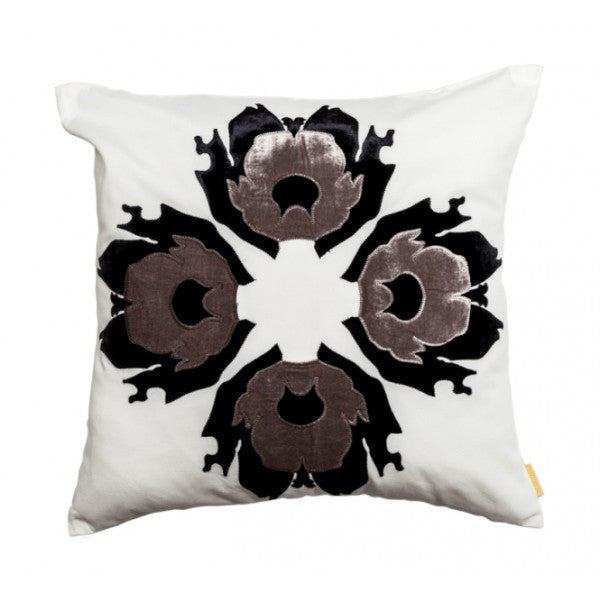 Lava Flower Pillow by Scintilla Shown in Grey & White