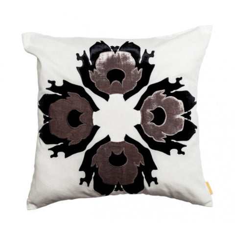 Lava Flower Pillow, Grey on White by Scintilla