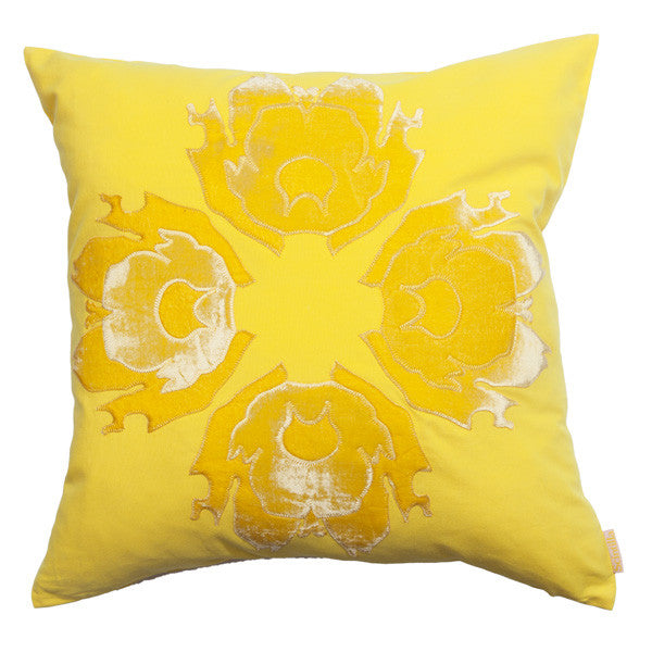 Lava Flower Pillow by Scintilla Shown In Yellow