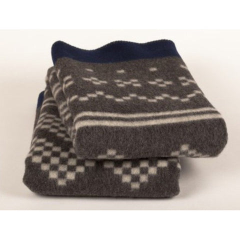 Setesdal wool blanket from Røros Tweed of Norway is offered by Lufina Wovens in two colors for quick delivery. This is Grey.