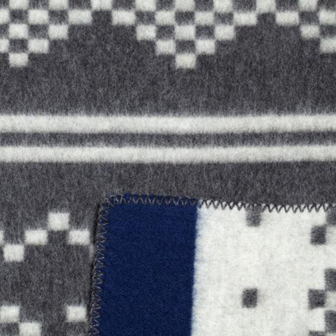 The Setesdal: Grey/White Blue Stripe on one side AND White/Grey Blue Stripe on the other side. Virtually two blankets in one.