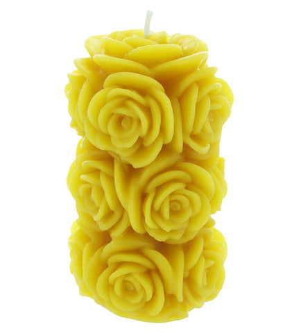 Rose Pillar Beeswax Candle
