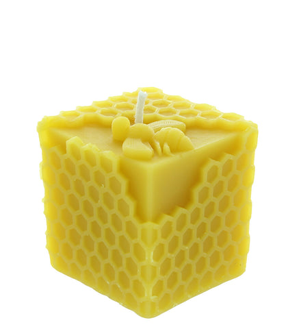 Honeycomb Cube Beeswax Candle