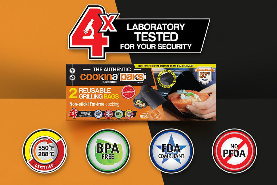4 laboratory tests for your safety - 550 °F certified, FDA compliant, No PFOA, BPA free