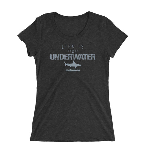 scuba diving t-shirt for women with hammerhead shark