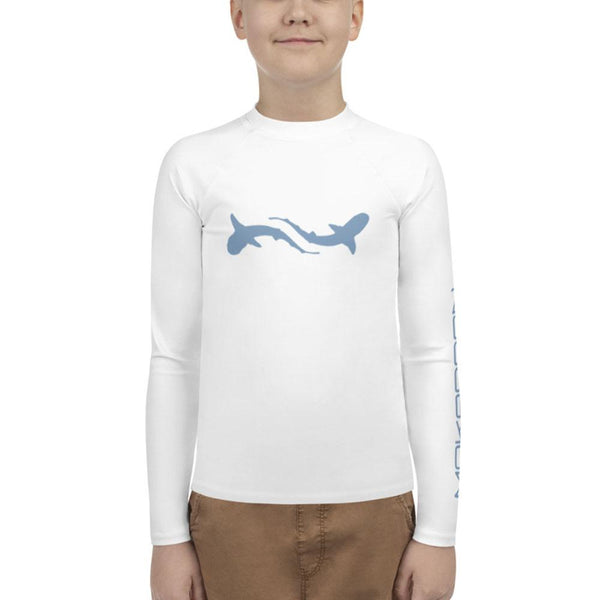 Scuba rash guard for youth boy with shark