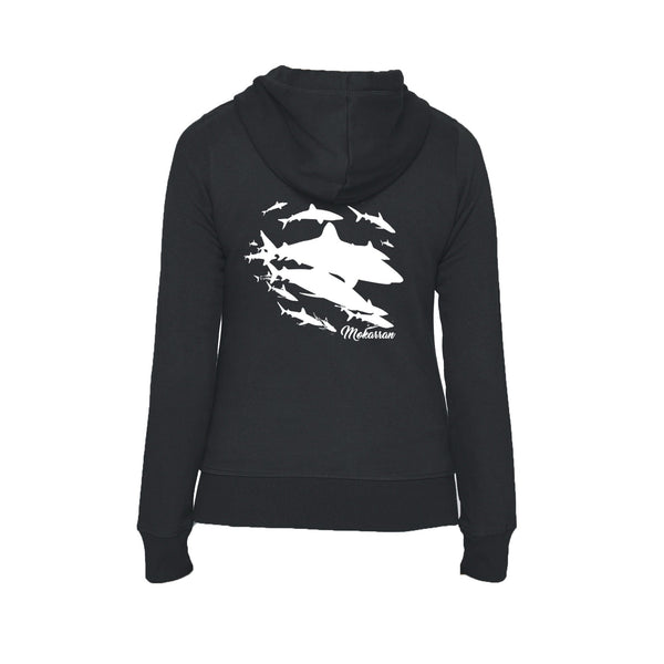 Black Sharks wall Flex Fleece full zip scuba Hoodies for women