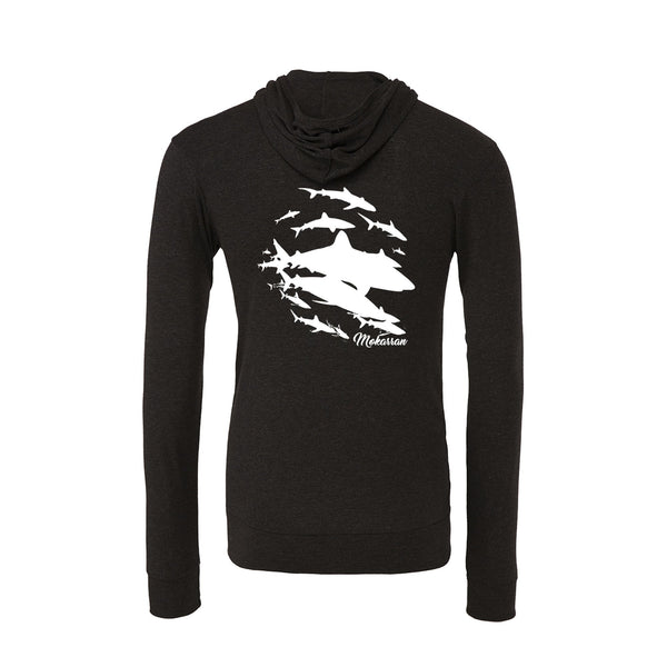 Charcoal black Sharks wall Lightweight full-zip scuba Hoodies for women