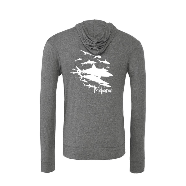 Scuba hoodies: Sharks Wall Lightweight Hoodies. Color grey.