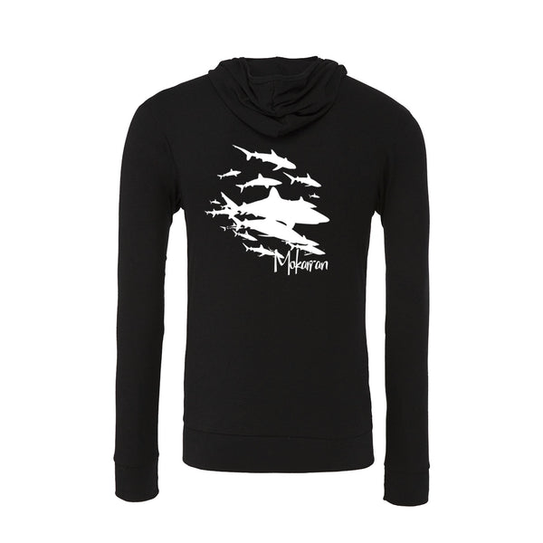 Scuba hoodies: Sharks Wall Lightweight Hoodies. Color black