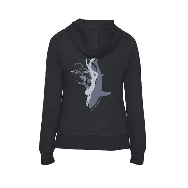Black Symbiosis Flex Fleece full zip scuba Hoodies for women