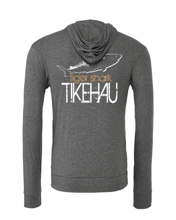 Scuba diving apparel: hoodie tiger shark. Color grey -tikehau