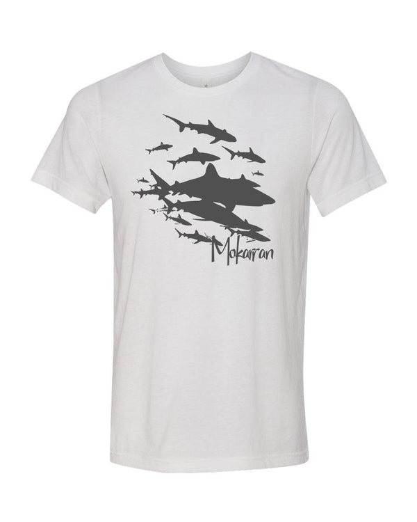ocean apparel shark wall t-shirt white