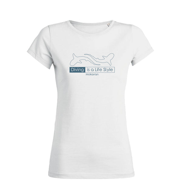 scuba diving t-shirt for women with shark