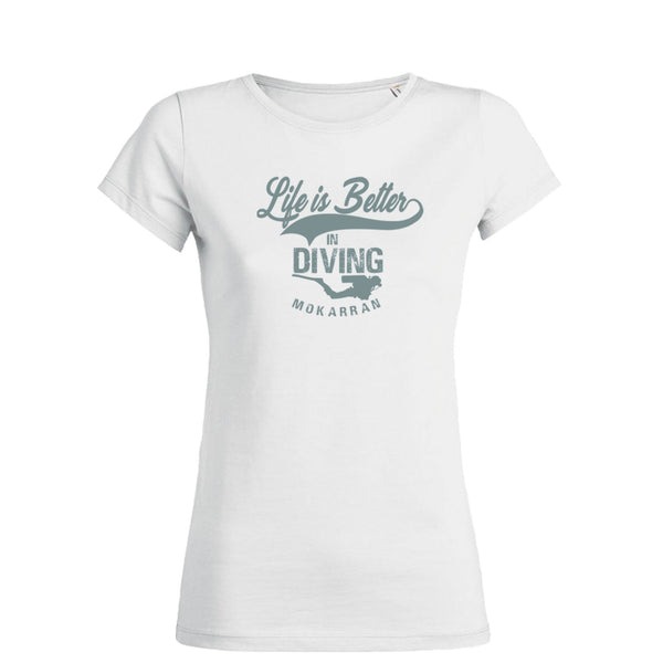 scuba diving t-shirt for women with diver