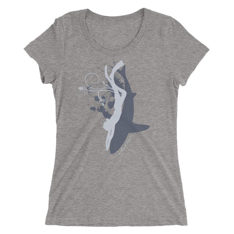 Grey triblend Symbiosis Scoop Neck Scuba T-shirt for women