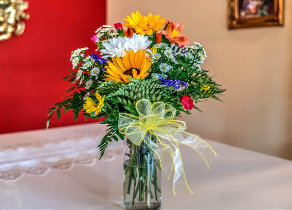 A flower bouquet on a table