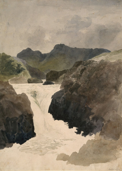 A painting showing a flowing river
